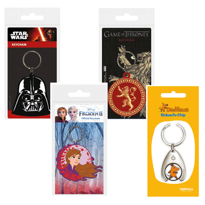 Key holders with familiar heroes: Star Wars, Game of Thrones, Frozen II