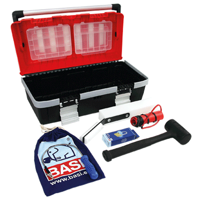 Tool kit with basic equipment opening tools